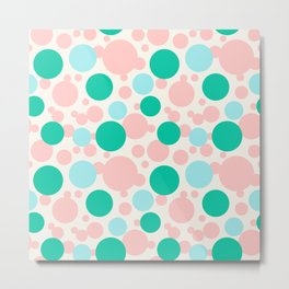 Green, blue and pink circles over beige Metal Print