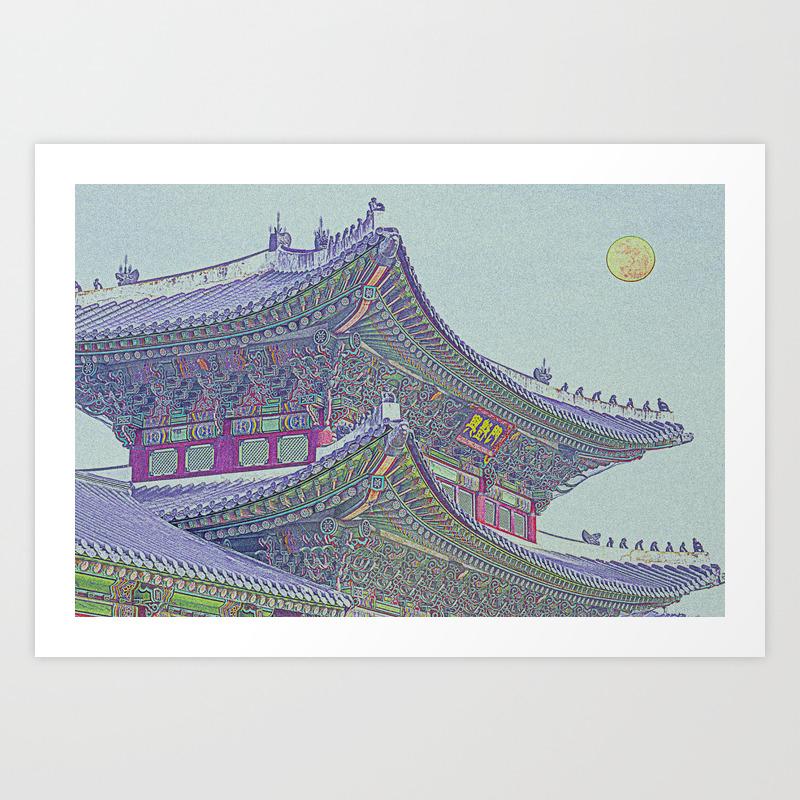 Chinese Building Art Print by Asarstudios PRN8256406
