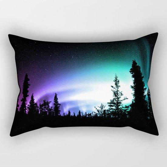 Aurora Borealis Forest Rectangular Pillow