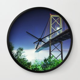 Spanning The Foggy Harbour Wall Clock
