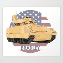 Bradley Fighting Vehicle with American Flag Art Print