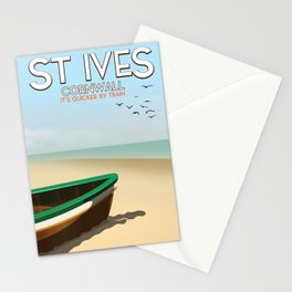 St Ives ,Cornwall ,beach travel poster, Stationery Cards