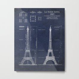 Eiffel Tower Blueprint and Elevation Metal Print