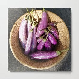 Asian Eggplant in a Basket Metal Print