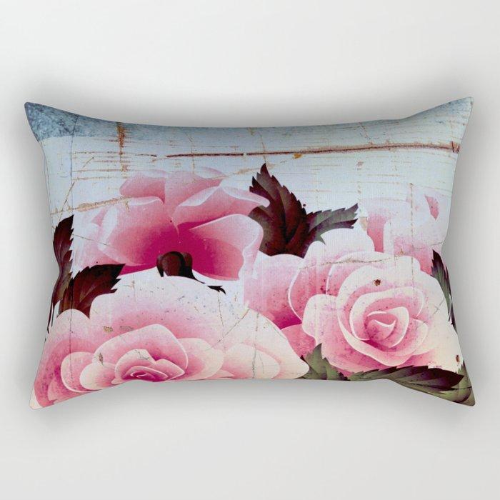 pink rose on old tile Rectangular Pillow