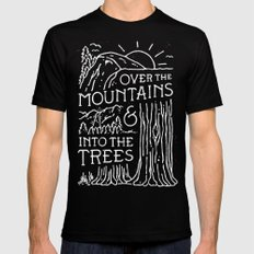 OVER THE MOUNTAINS (BW) Mens Fitted Tee LARGE Black