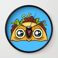taco Wall Clocks featuring Excited Taco by Artistic Dyslexia