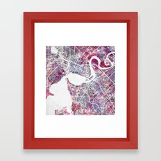 Perth map Framed Art Print