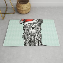 Christmas Dog In Santa Clause Hat Rug