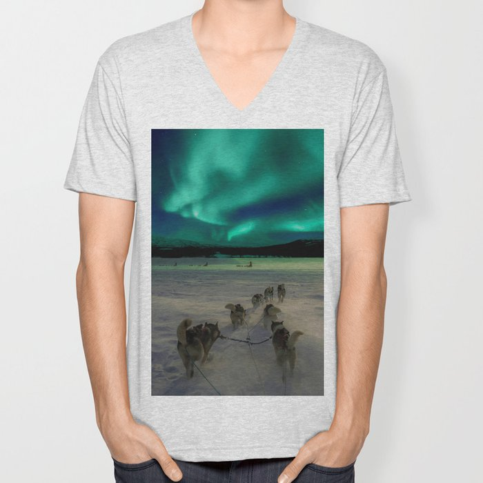 Winter Northern Lights Dog Sled (Color) Unisex V-Neck