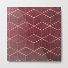 Pink and Rose Gold - Geometric Textured Gradient Cube Design Metal Print