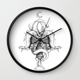 Cup of Sin - linework Wall Clock