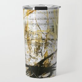 Armor [9]:a bright, interesting abstract piece in gold, pink, black and white Travel Mug