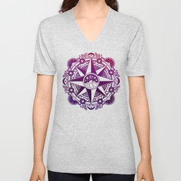 Journey to Moon Mountain | Purple & Magenta Ombré Unisex V-Neck