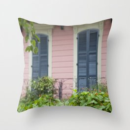 New Orleans Pink Front Porch Throw Pillow