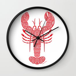 Tribal Maine Lobster on White Wall Clock