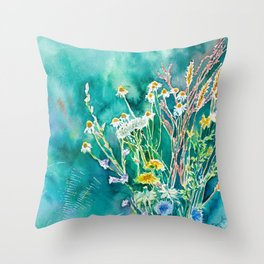 Aromatic Field Flowers Throw Pillow