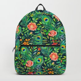 Peacock Feather Posies on dark Backpack