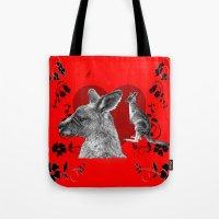kangaroo Tote Bags featuring Kangaroo by SwanniePhotoArt