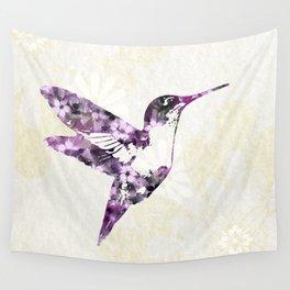 Purple Hummingbird Art Wall Tapestry
