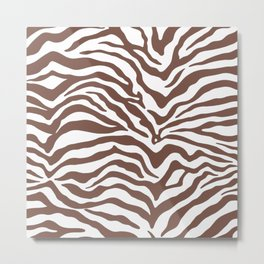 Zebra Print Brown Metal Print