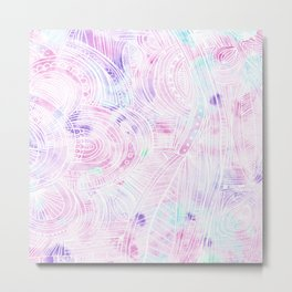 Hand painted watercolor pink teal white zentangle floral Metal Print