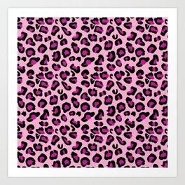 Leopard-Pink+Black+Purple Art Print