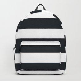 Dark gunmetal - solid color - white stripes pattern Backpack