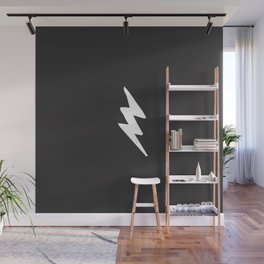 White Lightning Bolt Wall Mural