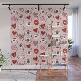 Valentines donuts and coffee cute gifts for love valentine andrea lauren Wall Mural