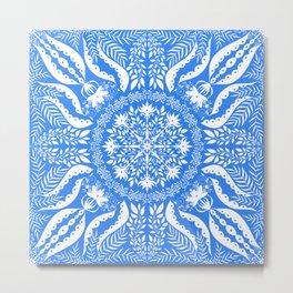 Bohemian Blue Botanical Folk Tile Metal Print
