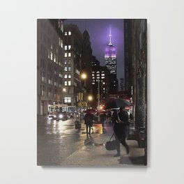 Purple Empire State building on a rainy night Metal Print
