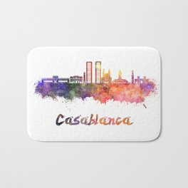 Casablanca skyline in watercolor Bath Mat