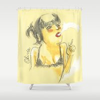 olivia joy Shower Curtains featuring Olivia by Gustavo Gialuca
