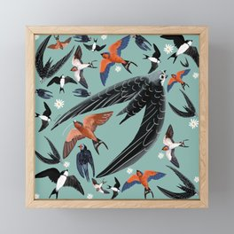 Swallows Martins and Swift pattern Turquoise Framed Mini Art Print