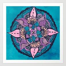Boho fall floral watercolor hand drawn mandala  Art Print