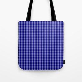 Navy Blue Gingham Check Plaid Pattern Tote Bag