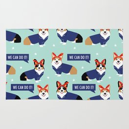 Corgi Rosie the Riveter - dog in costume, corgi cosplay, corgi costume, cute corgi, dog, dogs, Rug