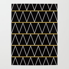 Black and gold zigzag Poster