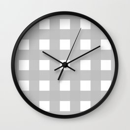 Gingham (Silver/White) Wall Clock
