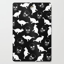 Skulls, Cats, Black and White, Pattern Cutting Board