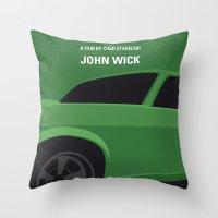 No759 My John Wick minimal movie poster Throw Pillow