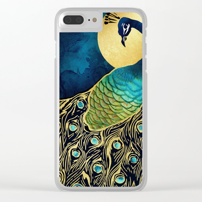 Golden Peacock Clear iPhone Case