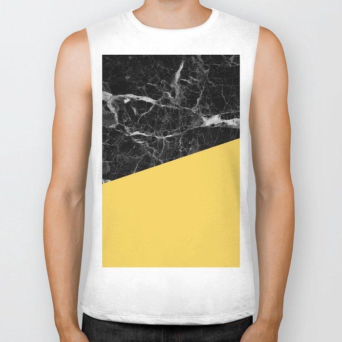 Black Marble and Primrose Yellow Color Biker Tank