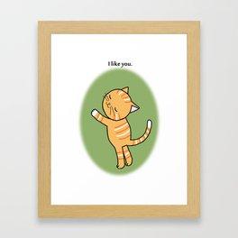 Orange Tabby Cat I like you Framed Art Print