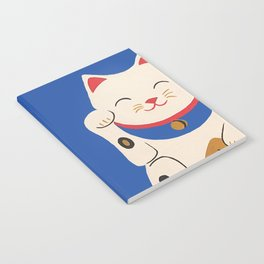 Blue Lucky Cat Maneki Neko Notebook