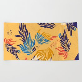Primary Colors Leaves Beach Towel