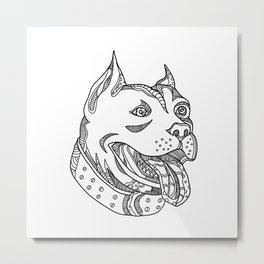 Pit Bull Head Doodle Art Metal Print