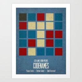 Codenames (Blue) - Minimalist Board Games 05A Art Print