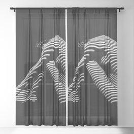 0056-DJA Zebra Back Nude Woman Yoga Black White Abstract Curves Expressive Line Slim Fit Girl Sheer Curtain